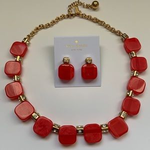 Kate Spade coral, black or pink necklace/earrings